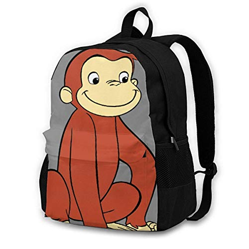 Lsjuee Curious George Girls Backpack Lightweight Multi-Function College School Bookbag
