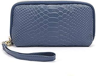 KYWBD Cartera Larga De Cuero para Mujer, Bolsa De Muñeca con Cremallera Bolsa De Teléfono Móvil De Gran Capacidad,Azul