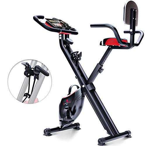 Sportstech X100-B - Bike 4in1 Heimtrainer mit Smartphone APP - einzigartiges Zugbandsystem Handpulssensoren Ergometer Hometrainer- Faltbares Fitness Fahrrad-Tablethalterung Rückenlehne klappbar