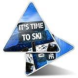 2 pegatinas triangulares de 10 cm – Tiempo para esquiar montañas pegatinas...