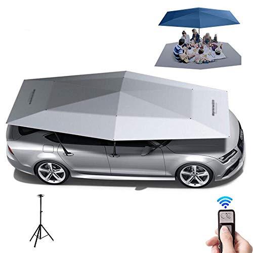 ZZAZXB Automatisches Autozelt Mit Fernbedienung, Autozelt Mobiler Carport Faltbarer tragbarer Autoschutzschirm Sonnenschutzplanen-Abdeckungs-Regenschirm,Grau