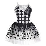 iixpin Vestido Infantil de Ballet Maillot de Tutú con Lentejuelas Brillante Impreso de Patrón Geométrico 4-12 Años Blanco&Negro 8 Años