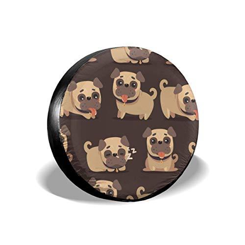 Cubierta impermeable para llanta de repuesto de perro Pug marrón de dibujos animados para Jeep, remolque, RV, SUV, autocaravana y rueda de vehículo Protector de llanta resistente a la intemperie
