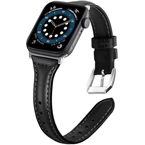 LORDSON Cuero Correa Compatible con Apple Watch 42 mm 44 mm Pulseras, 5.5 '-8.5' Correa Delgada de Repuesto Compatible con iWatch Serie 6 5 4 44 mm / Serie 3 2 1 42 mm para Mujeres Hombres