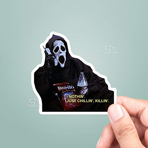 Scream Just Chillin' Killin' Vinyl Sticker, Halloween Stickers, Scream Sticker, Horror Stickers, Macbook Decal, Laptop Stickers (3 Pcs/Pack) Perfect for Water Bottle,Laptop,Phone