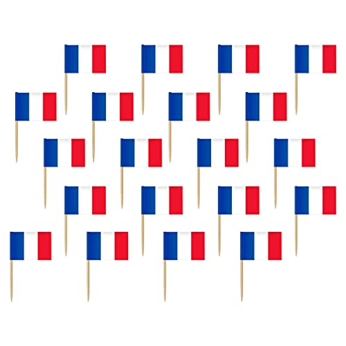jojofuny 200Pcs Französisch Flagge Picks Lebensmittel Obst Zahnstocher Kleine Mini Frankreich Flagge Cupcake Topper für Land Partei Dekoration Feier Cocktail Food Bar Kuchen