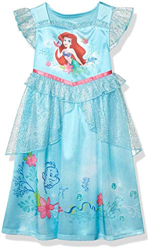 Disney Princess Girls' Toddler Princess Fantasy Nightgown, Ariel - Ocean Dreams, 2T
