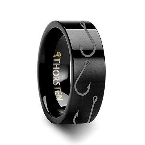Fish Hook Design Sport Fishing Print Pattern Flat Black Tungsten Ring 4mm Wide Wedding Band Size 12