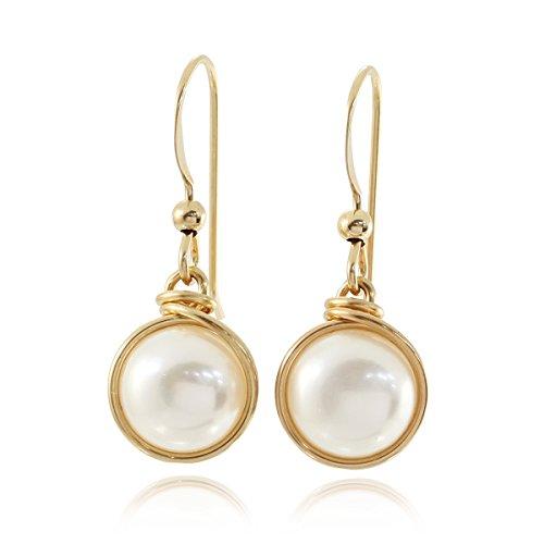 Stera Jewelry 14k Gold-gefüllte Hand gewickelt 8mm Zuchtperlen Ohrringe Braut Hochzeit Schmuck