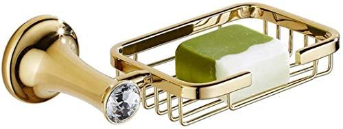 Dongyd Aseo Cesta de jabón Plato Accesorios de baño cristalino Redondo Pared Montaje en Placa Base Superficie de Oro Decorativo