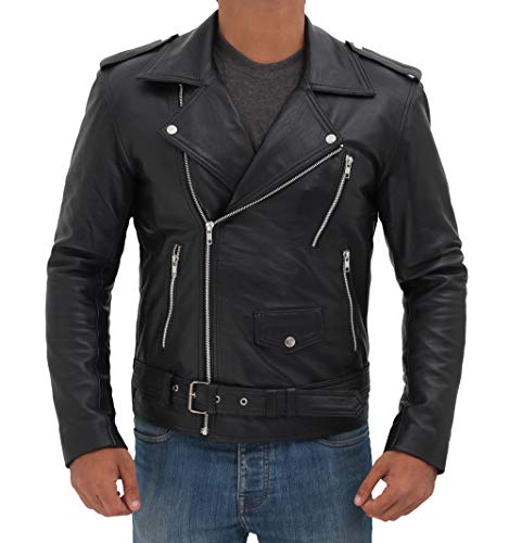 Decrum Black Motorcycle Leather Jacket Mens | [1100013] Belted Rider, M