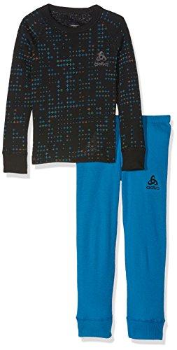 ODLOA #Odlo Odlo Kinder Set WARM Kids Shirt l/s Pants Long Skiunterwäsche, Mykonos Blue - Black, 104