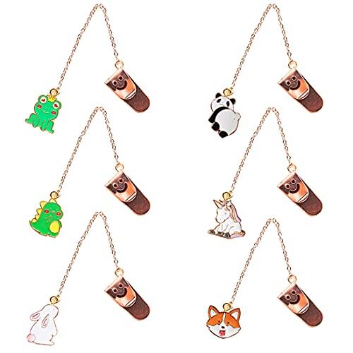 SUNSK Segnalibro ciondolo Segnalibri Metallo Segnalibro bambini Pendente panda unicorno cane è un regalo per lettori ragazze amici compagni di classe 6 Pezzi