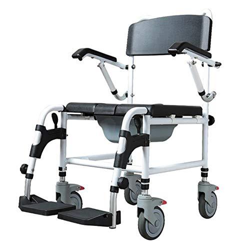SXTYRL Wc Stuhl Toilettenstuhl Rollstuhl Toilettenstuhl Fahrbar Höhenverstellbar Aluminium Klapprollstuhl Toilettengestell Tragbarer,Tragfähigkeit bis zu 180kg,Wheelchair