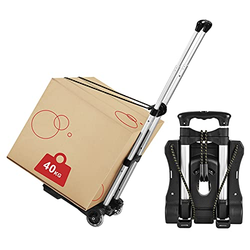 Hivexagon Folding Luggage Cart, Heavy Duty Travel Trolley 40kg/88lbs Load Capacity Lightweight & Durable for Luggage, Personal,Travel, Moving and Office Use