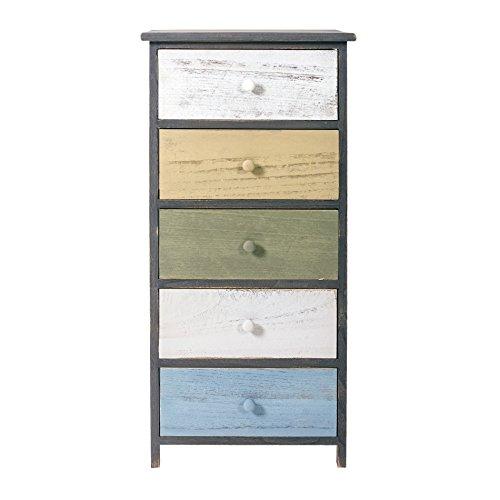 Rebecca Mobili Cassettiera vintage, armadietto 5 cassetti, per camera bagno, legno paulownia, grigio bianco beige azzurro - Misure: 87 x 40 x 29 cm (HxLxP) - Art. RE4885