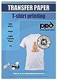 PPD A3 10 Fogli Di Carta Trasferibile Termoadesiva Per Stampanti A Getto D'Inchiostro Inkjet - T-Shirt E Tessuti Di Colore Chiaro - PPD-7-10