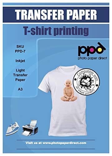 PPD A3 x 10 Blatt Inkjet PREMIUM Transparentes T-Shirt Transferpapier für Tintenstrahldrucker und helle Textilien - ideal für Bügeleisen und Thermopresse PPD-7-10