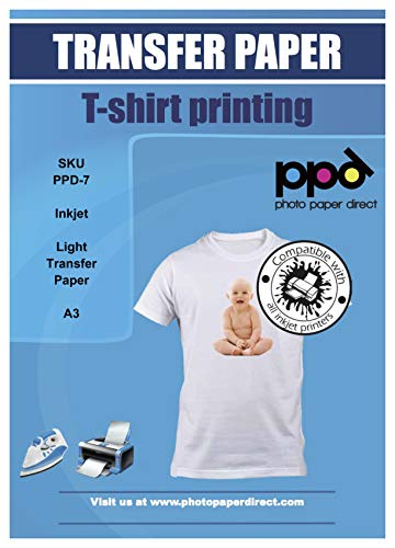 PPD A3 Carta Trasferibile Termoadesiva Per Stampanti A Getto D'Inchiostro Inkjet - T-Shirt E Tessuti Di Colore Chiaro x 10 Fogli - PPD-7-10