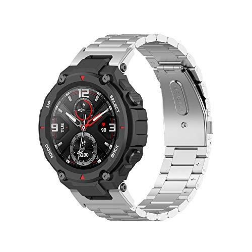 Correa de reloj de acero inoxidable de repuesto compatible con Amazfit T-Rex Pro Smart Watch, accesorios de banda para hombre para Amazfit T-Rex Smartwatch (Plata)