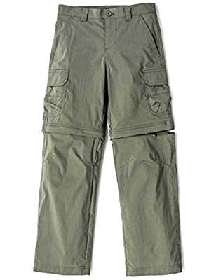 CQR Kids Youth Hiking Cargo Pants, UPF 50+ Quick Dry Convertible Zip Off/Regular Pants, Outdoor Camping Pants, Boy Convertible(bxp432) - Olive, 10-12 Medium