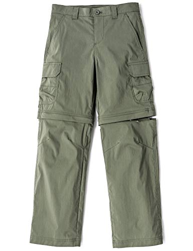 CQR Kids Youth Hiking Cargo Pants, UPF 50+ Quick Dry Convertible Zip Off/Regular Pants, Outdoor Camping Pants, Boy Convertible(bxp432) - Olive, 10-12_Medium