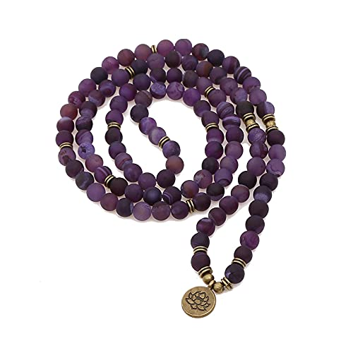 108 Mala Beads Wrap Pulseras para Yoga Lotus Charm Ágata Piedra Natural Pulsera Collar Joyería Natural para Mujeres Hombres