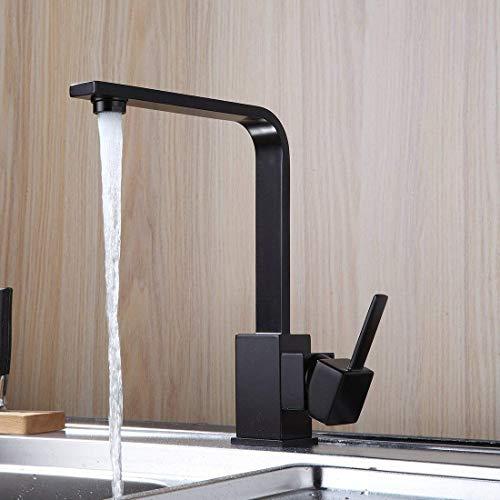 Aimadi Küchenarmatur Wasserhahn Mischbatterie Spültischarmatur Küchenspüle Spülbecken Geschirrbrause Armatur Küche Schwarz