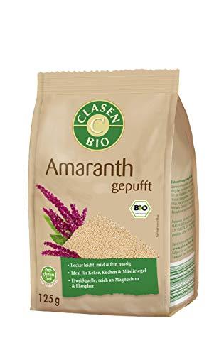 CLASEN BIO Amaranth gepufft, glutenfrei und vegan, ideal für Müslis - 125 g