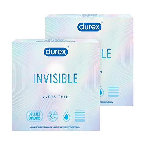 Durex Invisible Condoms, Ultra Thin, Ultra Sensitive Natural Rubber Latex Condoms for Men, FSA and...