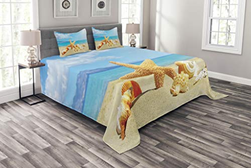 Ambesonne Seashells Bedspread, Summer Beach Theme and Sand with Rays in The Sky Clouds Seaside Marine, Decorative Quilted 3 Piece Coverlet Set with 2 Pillow Shams, King Size, Mustard Ivory