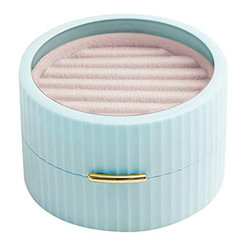 HMEILI Makaron Tragbare Schmuckschatulle Runde Doppelohrringe Halskette Ring Schmuck Klassifizierung Aufbewahrungsbox (Color : Blue)
