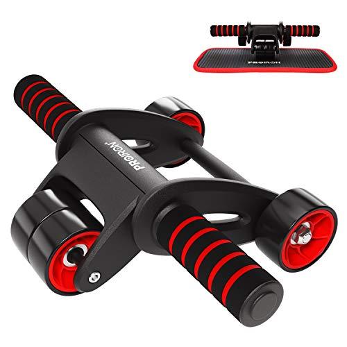PROIRON AB Roller Bauchtrainer AB Wheel Workout Bauchroller 4 Räder Transportabel Leise mit Komfortabel Matte Knie Gerät für Bauchmuskeln Bauchmuskel-Training Standhält 100kg