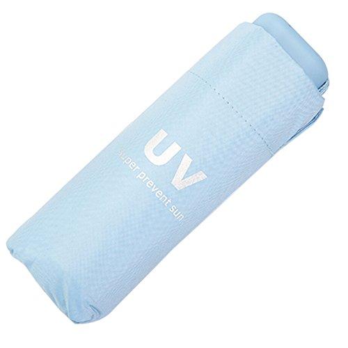 Wongfon faltbar, schwarz, Sonnenschutz, UV-Schutz, Regenschirm, Sonnenschirm, für Damen und Herren blau