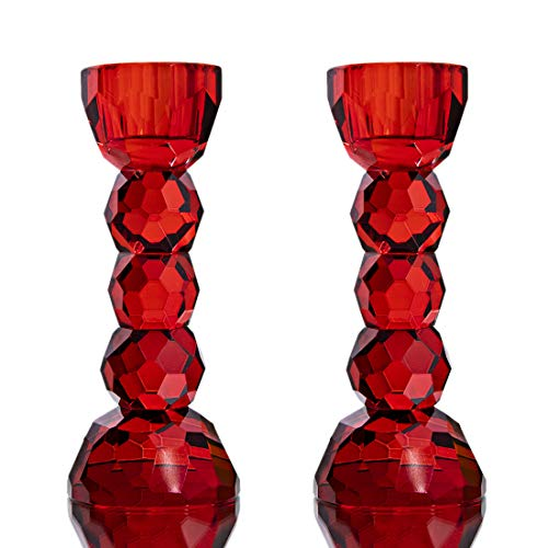 2 Pack Crystal Glass Candle Holder Candlesticks Dinner Table Decor for Home (Red)