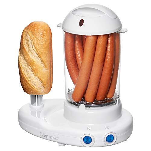 """Clatronic HDM 3420 Hot-Dog-Maker inklusiv Eierkocher, Für 1 bis 14 Würstchen (z. B. """"Frankfurter"""", """"Wiener""""), Zubereitung von bis zu 6 Eiern, beheitzter Edelstahl-Aufsteckdorn, weiß"""