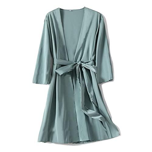 AWSXDC Robe de Satén Femenino Íntimo Lencería Ropa de Dormir Sedoso Nupcial Regalo de Boda Casual Kimono Albornoz Bata Camisón Camisón Sexy Ropa de Dormir (Color : 03, Size : XL)