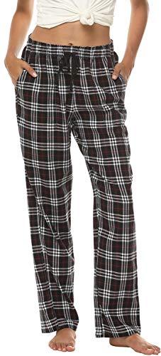 AIRIKE Damen Pyjamahose Warm Lang Baumwolle Weich Schlafanzughose Kariert Winter Nachtwäsche Freizeithose No.3755 XL