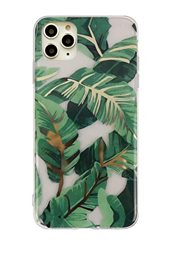 iPhone 11 Pro Case,Doowear Ultra Thin Slim Fit Anti Scratch Shockproof Silicone Clear Phone Case Cover Soft TPU Bumper Rubber Transparent Protective Cover Phone Case for iPhone 11 Pro 5.8'-Banana Leaf