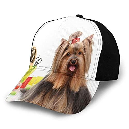 Yearinspace Gorra de béisbol con estilo hip hop, Yorkshire Terrier con tijeras de espejo para equipo de peluquería para hombres y mujeres