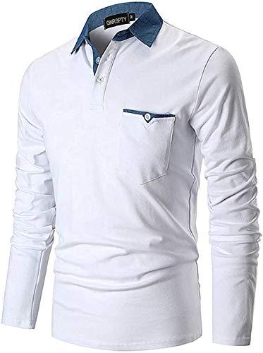 GNRSPTY Polo Manica Lunga Uomo Maglietta Denim Collare Maglia Elegante Cotone T-Shirt Golf Tennis Lavoro Camicia,Bianco,XXL