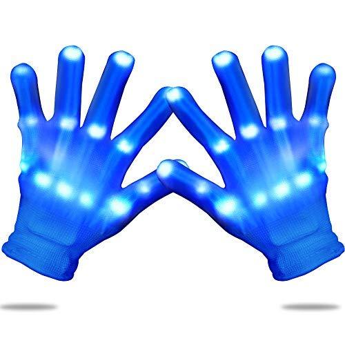 Charlemain Kinder LED Handschuhe blau(5-10Jahre), 3 Modus,Skelett Hand Effekt,leuchtende Handschuhe Kinder für Weihnachten, Karneval, Party,Kostüm Beleuchtung, Spielzeug, Geschenk für Mädchen,Junge…