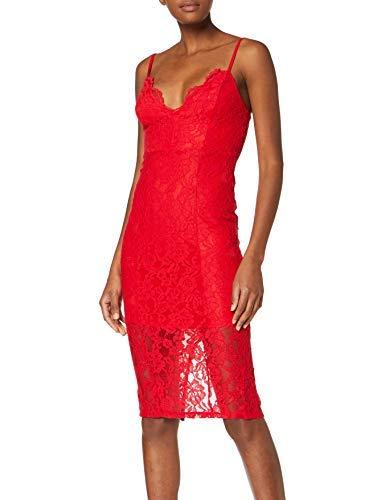 New Look 915 Scallop Lace Vestito, Rosso (Bright Red 60), 38 (Taglia Produttore: 6) Donna