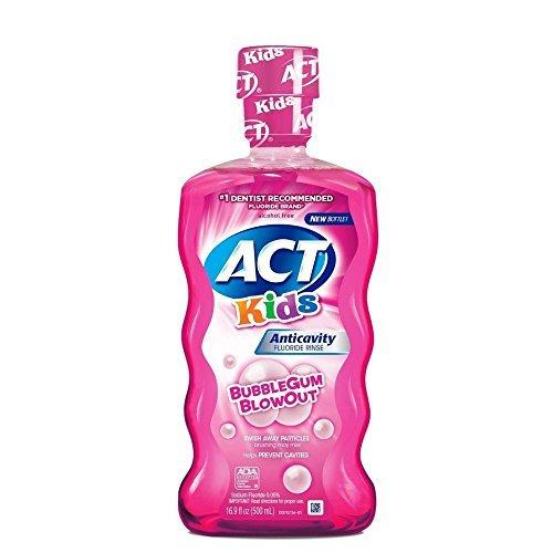 ACT Kids Anticavity Fluoride Mouthwash, Bubble Gum Blow Out 16.9 Oz