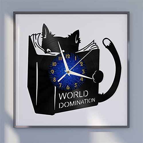 Aprender Tema de Gato Vinilo Record Wall Clock, Reloj de Pared para la Cocina Casa Sala de Estar Dormitorio Escuela (B) Decoración Hecha a Mano para guardería Reloj Original de Dibujos Animados Rel