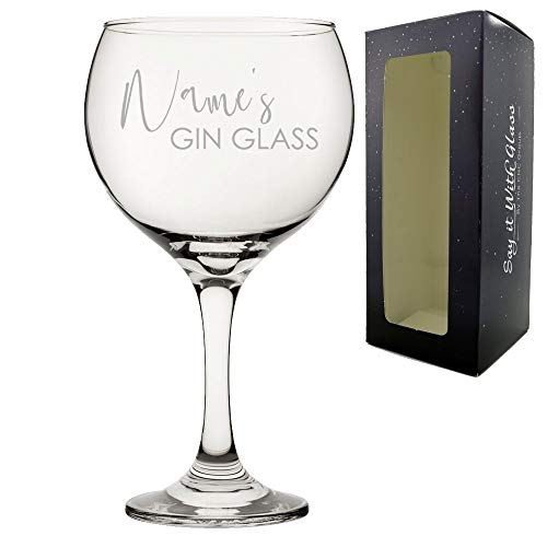 Personalised Engraved Name's Gin Glass with Gift Box, Personalise with Any Name
