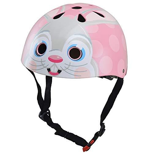 KIDDIMOTO Fahrrad Helm für Kinder - CE-Zertifizierung Fahrradhelm - Design Sport Helm für Skates, Roller, Scooter, laufrad - Rosa Hase - M (53-58cm)