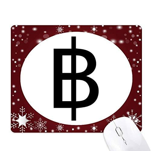 symbole monétaire baht thaïlandais tapis de souris en hiver flocon de neige