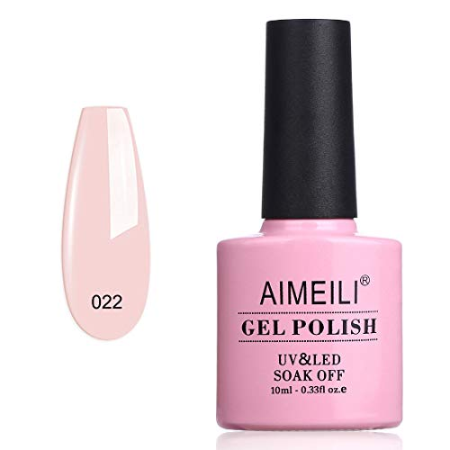 AIMEILI Soak Off UV LED Vernis à Ongles Gel Semi-Permanent Pink Gel Polish - Clear Rose Nude (022) 10ml