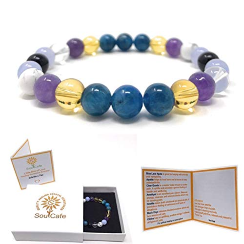 Arthritis & Pain Bracelet - Healing Crystal Gemstone Bracelet - Includes Gift Box and Information Tag. Apatite, Blue Lace Agate, Citrine, Amethyst, Howlite, Clear Quartz, Black Onyx